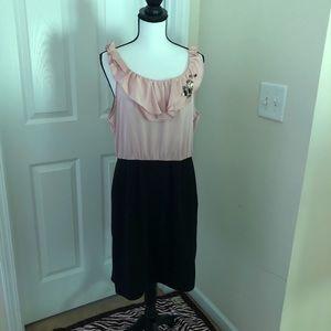 Sleeveless Pink and Black knee length dress.